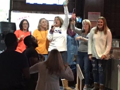 Girls sang karaoke